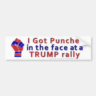 Anti Donald Trump Funny Punched in Face V1 Bumper Sticker