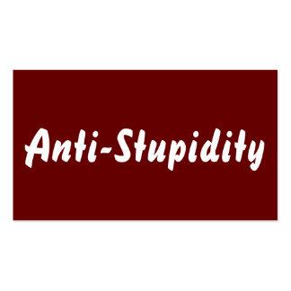 Anti-Estupidez rojo oscuro Tarjeta De Visita