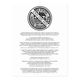 Anti Federal Reserve Logo with Famous Quotes 2 Postcard