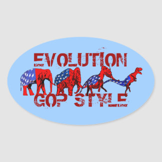 Anti-GOP Anti-Republican Evolution Satire Oval Sticker