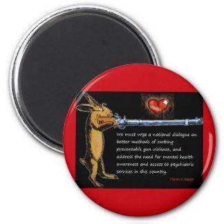 Anti-Gun Violence - Listen to Bunny 2 Inch Round Magnet