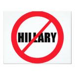 """Anti-Hillary Clinton Invitación 4.25"""" X 5.5"""""""