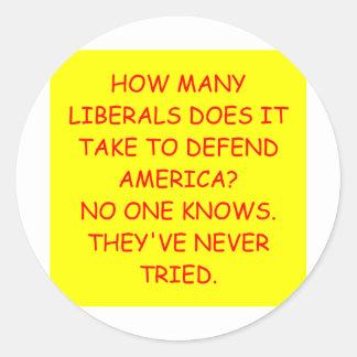 anti liberal anti obama joke classic round sticker