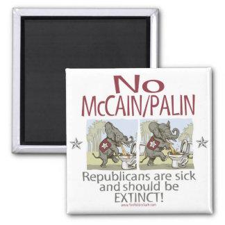 Anti McCain Palin Sick Elephants 2 Inch Square Magnet