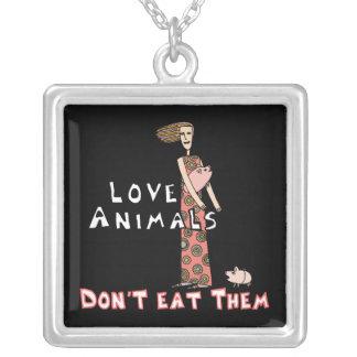 Anti-Meat Vegan Message Necklace