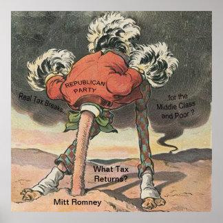 Anti-Mitón Romney con la cabeza en la arena Póster