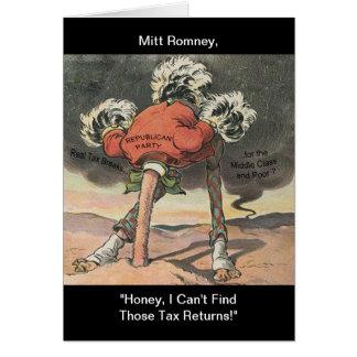 Anti-Mitón Romney con la cabeza en la arena Tarjeta