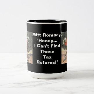 Anti-Mitón Romney con la cabeza en la arena Taza De Dos Tonos
