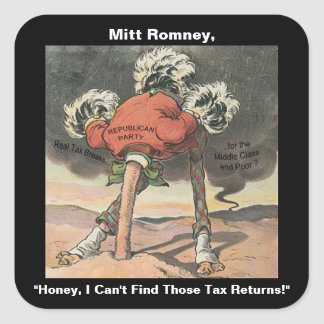 Anti-Mitt Romney with Head in the Sand Square Sticker