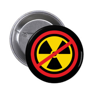 Anti nuclear power radiation symbol button