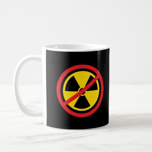 Anti nuclear power radiation symbol mugs