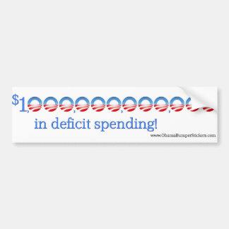 """Anti-Obama """"1 trillón en el gasto de déficit """" Pegatina Para Auto"""