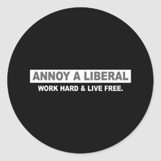 ANTI-OBAMA- ANNOY A LIBERAL. WORK HARD AND LIVE FR CLASSIC ROUND STICKER