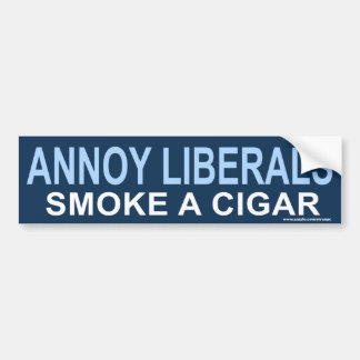 """anti Obama """"Annoy Liberals, Cigar"""" Sticker Car Bumper Sticker"""