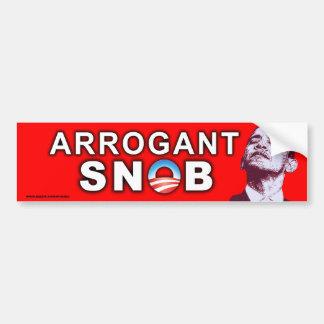 """anti Obama """"Arrogant Snob"""" Sticker"""