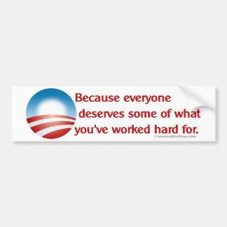 Anti-Obama Because (Red) Bumper Stickers