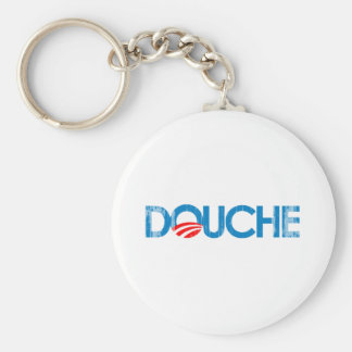 ANTI-OBAMA BUMPERSTICKER - DOUCHE- Faded.png Basic Round Button Keychain
