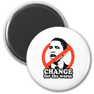 ANTI-OBAMA / CHANGE FOR THE WORSE 2 INCH ROUND MAGNET