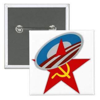 ANTI OBAMA COMMUNIST /SOCIALIST STAR SYMBOL PINBACK BUTTON
