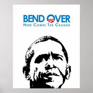 Anti-Obama - curva encima para el cambio Posters