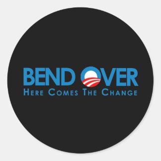 Anti-Obama - curva encima para el cambio Pegatinas Redondas