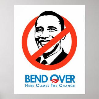 Anti-Obama - curva encima para el cambio Póster