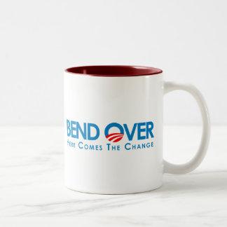 Anti-Obama - curva encima para el cambio Taza De Dos Tonos