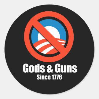 Anti-Obama - dioses y armas desde 1776 Etiqueta Redonda