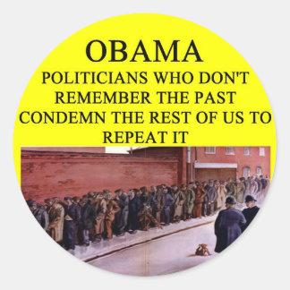 anti obama eat the rcih joke classic round sticker