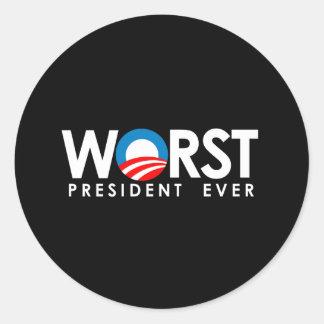 Anti-Obama - el blanco peor de presidente Ever Pegatina Redonda