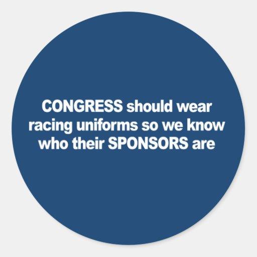 ANTI-OBAMA- el congreso debe llevar los uniformes Etiquetas Redondas