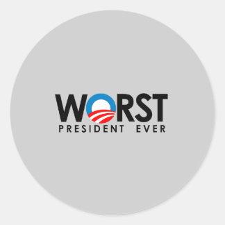 Anti-Obama - el negro peor de presidente Ever Etiquetas Redondas