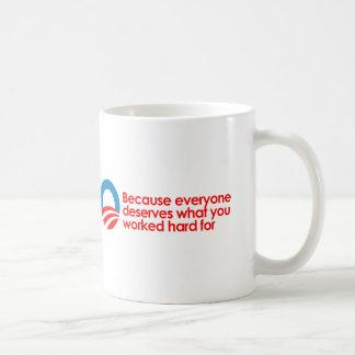 Anti-Obama - Everyone deserves what you work hard  Coffee Mug