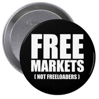 Anti-Obama - Free Markets not Freeloaders white Pinback Button