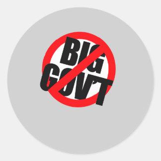 Anti-Obama - gobierno grande Anti Pegatina Redonda