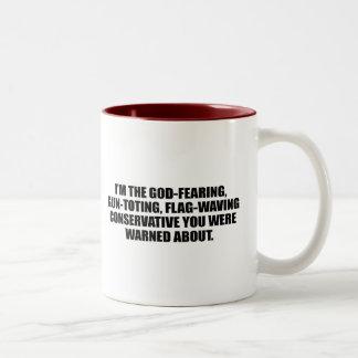 Anti-Obama - God fearing conservative Two-Tone Coffee Mug