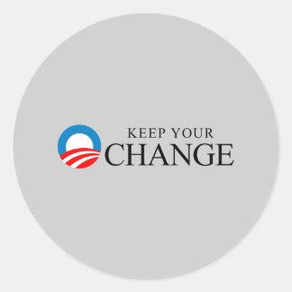 Anti-Obama - guarde su negro del cambio Pegatina