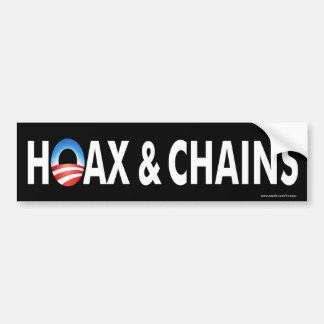 """anti Obama """"Hoax & Chains"""" B&W bumper sticker"""