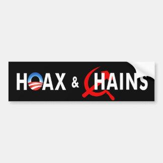 """anti Obama """"Hoax & Chains Commie"""" bumper sticker"""