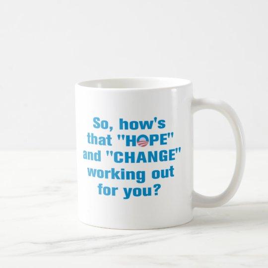 "Anti Obama ""Hope"" and ""Change"" Coffee Mug"