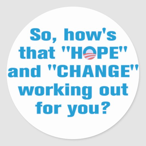 "Anti Obama ""Hope"" and ""Change"" Sticker"