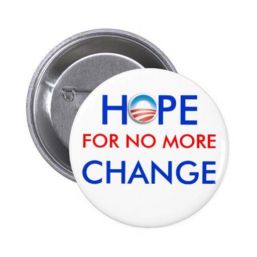 Anti-Obama / HOPE FOR NO MORE CHANGE Pin