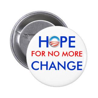Anti-Obama / HOPE FOR NO MORE CHANGE Pinback Button