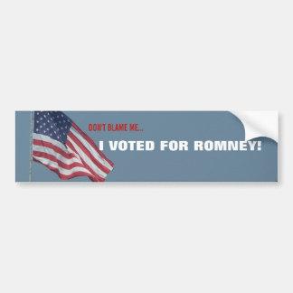 Anti Obama I Voted for Romney Republican Political Bumper Sticker