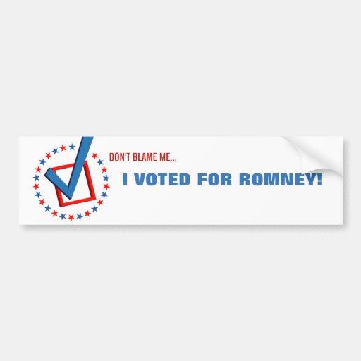 Anti Obama I Voted for Romney Republican Political Bumper Stickers