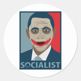Anti-Obama Joker Socialist Round Stickers