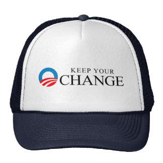 Anti-Obama - Keep your change black Trucker Hats