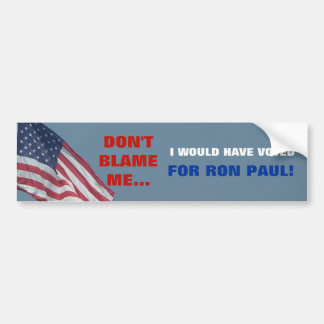 Anti Obama My Vote is for Ron Paul Political Car Bumper Sticker