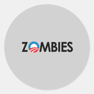 Anti-Obama - negro de los zombis Etiquetas Redondas