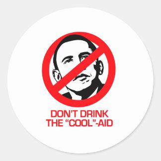Anti-Obama - no beba la fresco-ayuda Pegatina Redonda